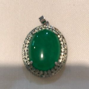 Silver  color jade pendant with cubic